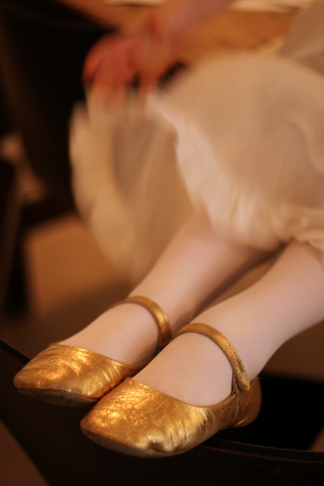 the gold shoes
